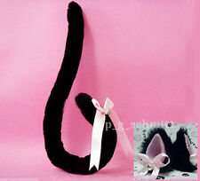 Party Lolita Anime Cosplay Costume Bowknot Bell Fox Cat ears Cat Tail Set Black