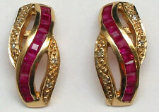 14K Solid Yellow Gold Genuine Ruby=1.20ct. and Diamond Stud Earrings