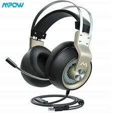 Mpow 3.5mm LED Gaming Headset w/ MIC Wired Headphones for PC Laptop PS4 Xbox One