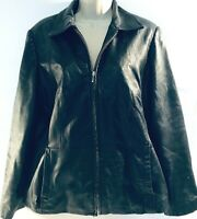 Croft & Barrow Womens Genuine Lambskin Leather Motorcycle Jacket Black Size M