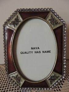 NAVA Bronze, Silver & Strass Collectible photo Frame 15cm