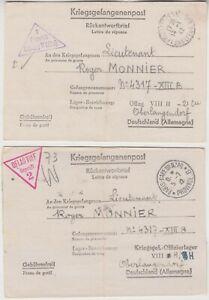 1942 PRISONER of WAR entire to OBERLANGENDORF with LEVALLOIS PERRET & PARIS cd