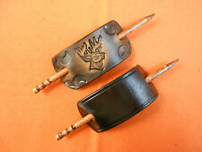 2 Leather Hair Barrettes w Sticks, Ponytail, Deer Head, Buck, Hand Crafted #141