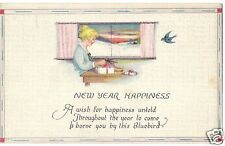 Original Vintage Divided Back PC- Woman- Gift- New Year Happiness- PM 1922