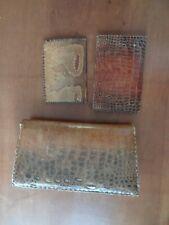 vintage années 60 sac croco et deux portefeuilles en croco
