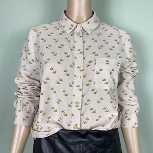 Hobbs NW3 Beige Gold Chiffon Dove Swallow Print Smart Work Blouse Size 10