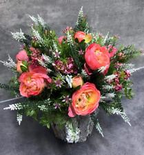 Artificial Flower Arrangement Ranunculus Heather Rose Rattan Pot Home Decor Gift
