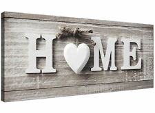 Shabby Chic Casa Preventivo-Grey Canvas Wall Art Picture-moderno larghezza 120 cm - 1317