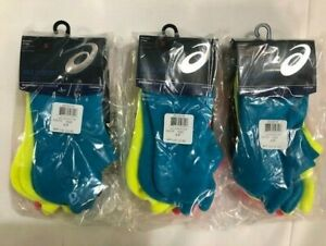 Pack of 3 - ASICS Womens Cushion Low Cut - Total 9 Pairs Neon Blue-Yellow-Pink