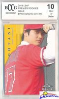 SHOHEI OHTANI 2018 Leaf Premier Rookie #PR1 GOLD PARALLEL RC #/100 BECKETT 10 MT