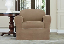 Sure Fit Chair Slipcover Alpine Cocoa w/ Tan Trim Separate Seat Box Cushion 2Pc