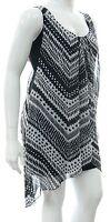Womens 16 - 24 new sleeveless Black & White zig zag chiffon print plus size top