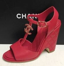 Chanel 16C Chain CC Logo T-strap Red Quilted Wedge Sandals Shoes 40.5