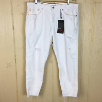 NEW Levi's PLUS 18W Wedgie Skinny High Rise Crop JEAN White Denim $108