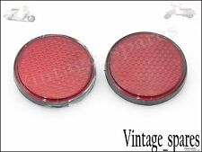 NEW WILLYS JEEP CAR PAIR LUCAS TYPE VINTAGE UNIVERSAL RED REFLECTOR 90mm