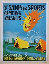 AFFICHE ORIGINALE ANCIENNE 5e SALON des SPORTS CAMPING VACANCES PARIS 1954
