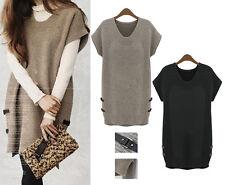 Women Ladies Warm Knit Sweater Dress Cap Sleeve Size 14 16 18 20 22 24 26 #50021