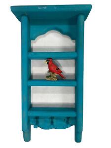 Wooden Blue Trinket Shelf 4 Levels Including Pre-Glued Cardinal & 3 Hanging Pegs