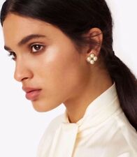 Tory Burch Rope Clover Pearl Stud Earring With Cream/Tort Gold. $98 Brand New