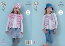 King Cole 4536 Knitting Pattern Girls Waistcoat Cardigan & Hat in Yummy