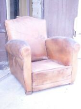 ancien fauteuil club art deco en l etat cuir
