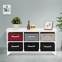 NEW Wooden Basket Storage Chest with 6 Drawer Baskets Bedroom Furniture US