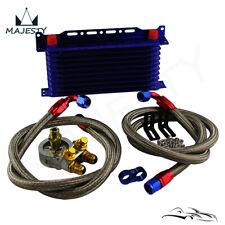 10 Reihen Motor Ölkühler mit / Thermostat Ölfilter Adapter Kit +Halterung Blau