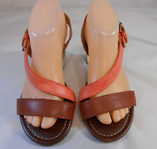 BRECKELLES Coral, Brown, Tan Strappy Slingback Buckle Sandals Womens Size 8.5 M