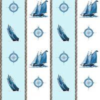 Blue Sailboat Print #793 Nylon Lycra Spandex 4 Way Stretch Swimwear Fabric BTY