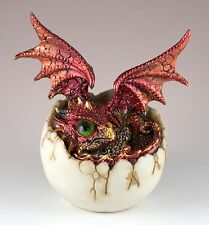 """Red Baby Dragon Hatching From Egg Figurine Hatchling 4.5"""" Detailed Resin New!"""