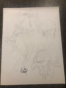 Joe Kubert Signature Hawkman Art Print from 2001 DC Comics Water Mark Signed