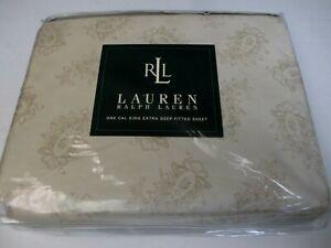 New Ralph Lauren BELMONT OAKS PAISLEY Cream Extra Deep Fitted Sheet - Cal King