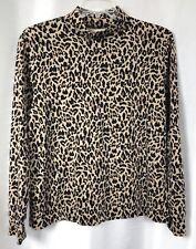 Lands' End Women's Large Mock Turtleneck Knit Top Animal Leopard Relaxed Fit L/S