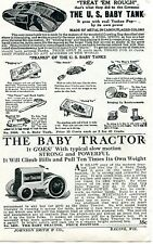 1929 small Print Ad of The Us Baby Tractor & Baby Tank treat em rough Yankee Pep