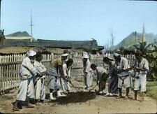 Photo. 1910s. Korea. Laborers Using 9 Man Shovel