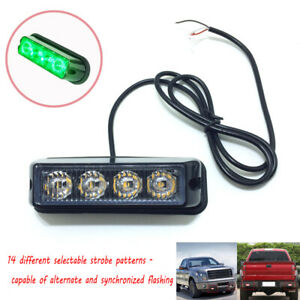 4 LED Green Grille Strobe Lights Side Marker Flash Emergency Warning 12V USA