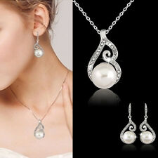 JT Women Rhinestone Crystal Necklace + Earring Wedding Bridal Pearl Jewelry Set
