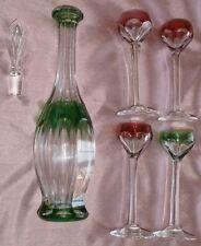 Carafe & 4 verre à liqueur cristal overlay vert & rubis / blanc - Saint Louis ?