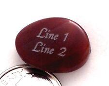 1 - PERSONALIZED Carnelian Agate Wavy Flat Oval Bead 18 x 13 mm Custom Engraved