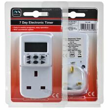 Masterplug 7 Day Plug In Digital LCD Timer Switch Daily / Weekly Programmable