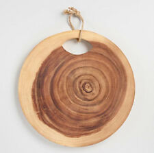 Round Wood Tree Ring Cutting Board Chopping Block Serving Platter w/Rope Handle