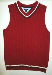 Tommy Hilfiger Logo Red Cable Knit Cotton V-Neck Sweater Vest Men's XL Christmas