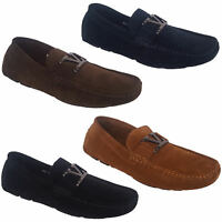 Mens Slip On Driving Shoes Italian Designer Loafers Moccasins Style Suede Look