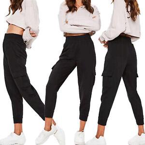 Ladies Womens Cuffed Bottom Cargo Combat Trousers Work Wear Stretch Pants Black
