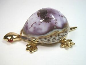 "Turtle Real Seashell & Gold Metal Thailand Souvenir Home Office Decor 4.5"" x 2"""