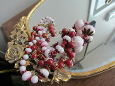 Vintage Antique Italian Graduate Murano Glass Lot necklace Beads Craft Pink Red
