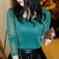 new spring summer Korean fashion elegant thin Bright silk backing shirt T-shirt