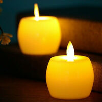 2Pcs LED Apple Tea Light Candle Tealight Flameless Flickering Battery Home Decor