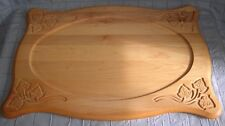 LARGE WOOD CARVED HANGING CUTTING BOARD PLATTER SERVER RANDALL'S WOODLINE (PB)