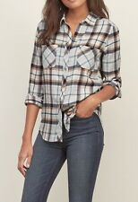 NWT  ABERCROMBIE & FITCH Plaid Flannel Shirt  - women's size  XS  NEW
